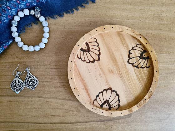 Decorative Wooden Dish - Bold Flower Design