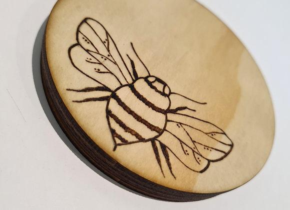 Slimline Round Coaster Set of 4 - Bee Design