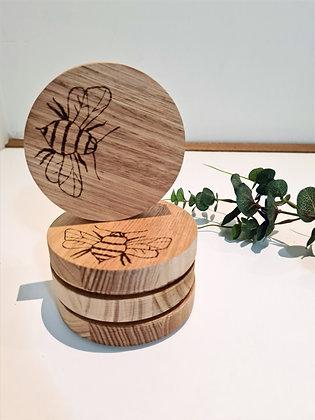 Wooden Coaster Set of 4 - Bee Design