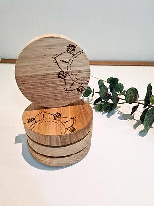 Wooden Coaster Set of 4 - Mandala Flower Design