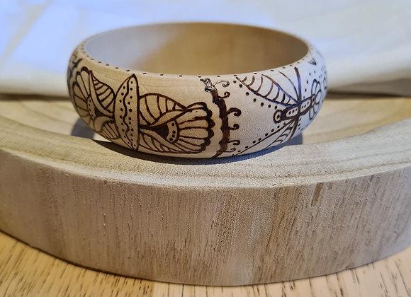 Wooden Bangle - Bold Flora Design