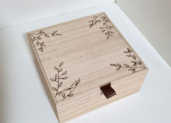 Leather Tab Trinket Box - Olive Leaf Design