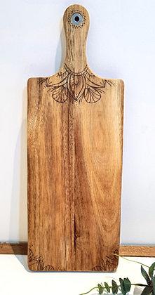 Petite Rectangle Paddle Serving Board -  Mandala Flower Handle Design