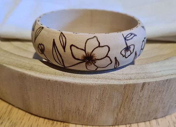 Wooden Bangle - Soft Floral Design