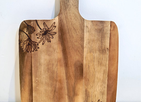 Small Square Paddle Serving Board -  Dotted Daisies Design
