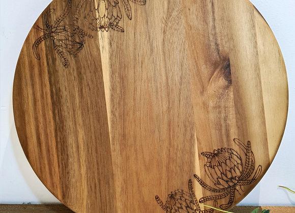 Medium Round Serving Board -  Protea Design