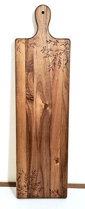 Large Rectangle Paddle Serving Board -  Olive Leaf Design