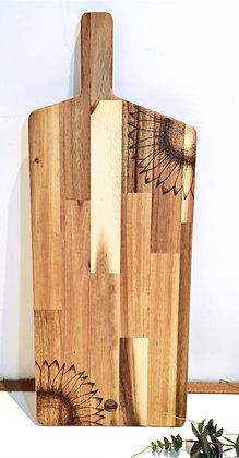 Large Rectangle Paddle Serving Board -  Sunflower Design