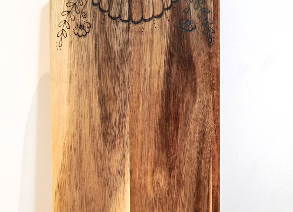 Petite Rectangle Paddle Serving Board - Bold Flower Handle Design
