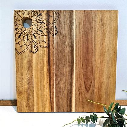 Small Square Serving Board - Bold Flower Mandala Design
