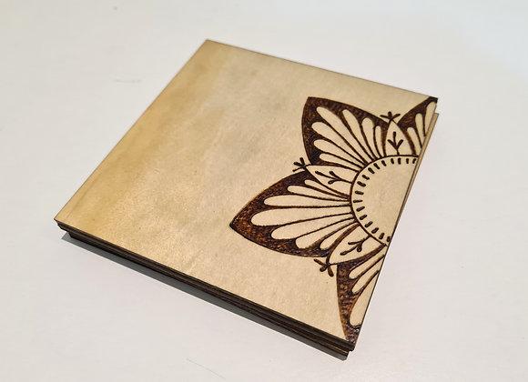 Slimline Square Coaster Set of 4 - Mandala Flower Design