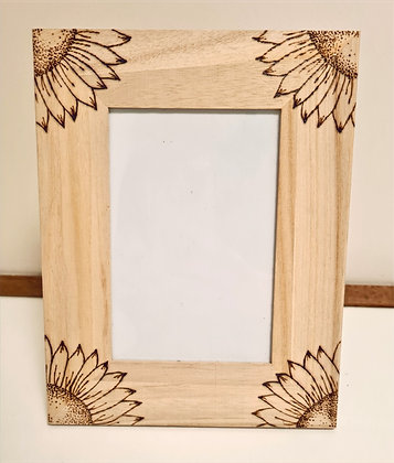 Wooden Photo Frame - Sunflower Design