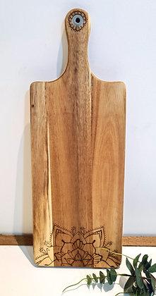 Petite Rectangle Paddle Serving Board - Dotty Mandala Design