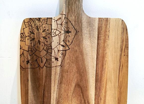 Small Square Paddle Serving Board - Mandala Corner Design