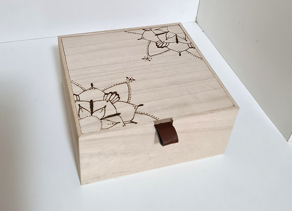Leather Tab Trinket Box - Mandala Design