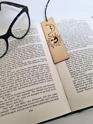 Plywood Bookmark - Sun & Moon Design