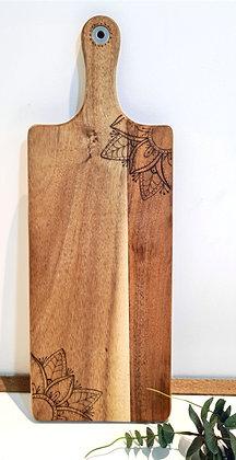 Petite Rectangle Paddle Serving Board -  Mandala Flower Corner Design