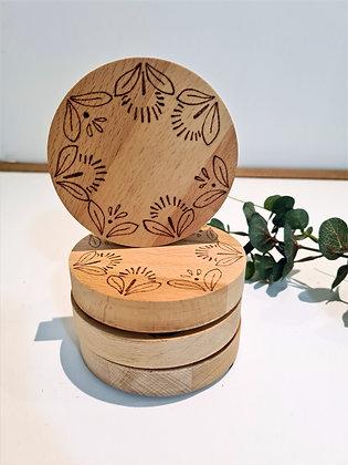 Wooden Coaster Set of 4 - 70's Floral Design