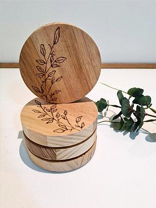 Wooden Coaster Set of 4 - Olive Leaf Design
