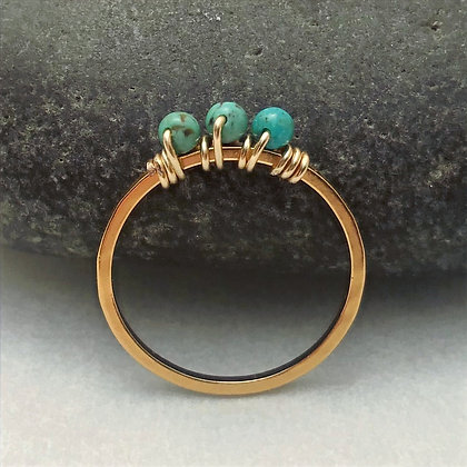 Three Bead Turquoise Ring (Size 8)