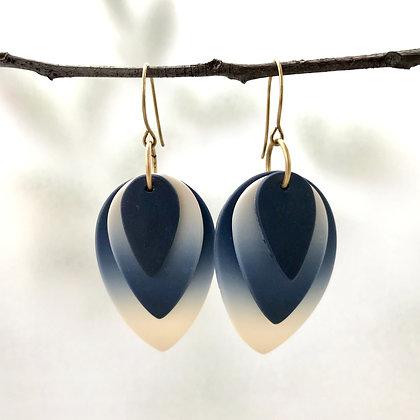 Indigo Ombre Petal Earrings (Large)