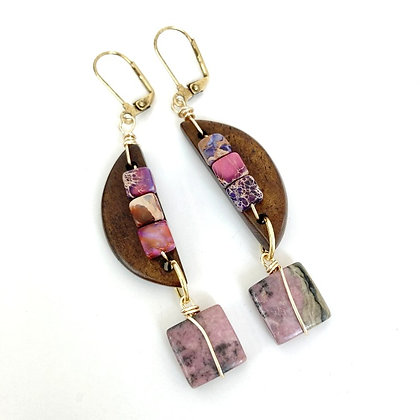 Geometric Abstract Pink Jasper Earrings (long)