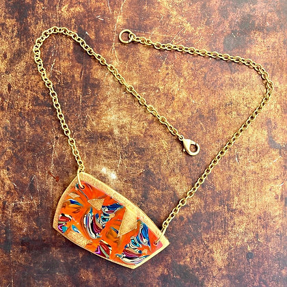 Modern Abstract Polymer Clay Necklace