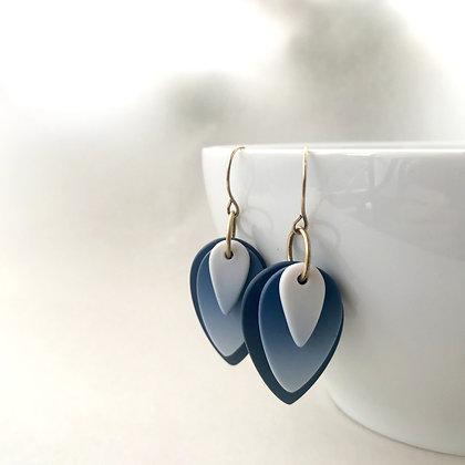 Indigo Ombre Petal Earrings (Small)