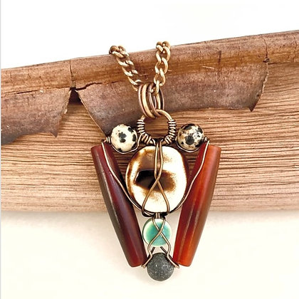 Bronze & Brass Wirewrapped Pendant Necklace