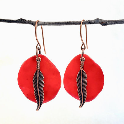 Tribal Red-Orange Earrings