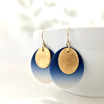 Indigo Ombre & Gold Ovals Earrings