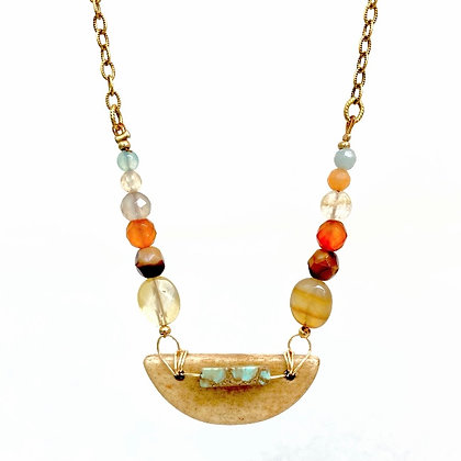 Natural Stone & Glass Bead Pendant Necklace