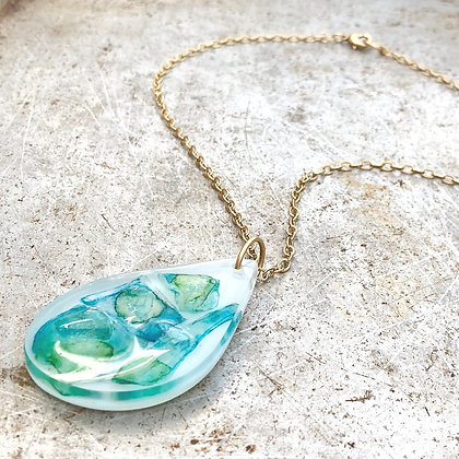 Abstract Tear Drop Street Glass Pendant Necklace