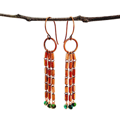 Deco Dangle Copper Earrings