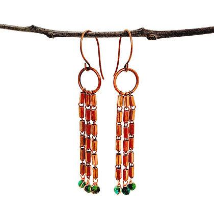 Deco Dangle Copper Earrings