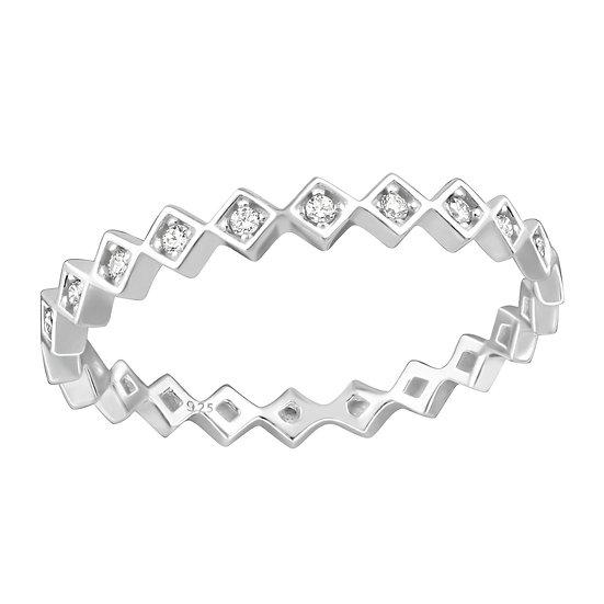 Geometric Cubic Zirconia Ring