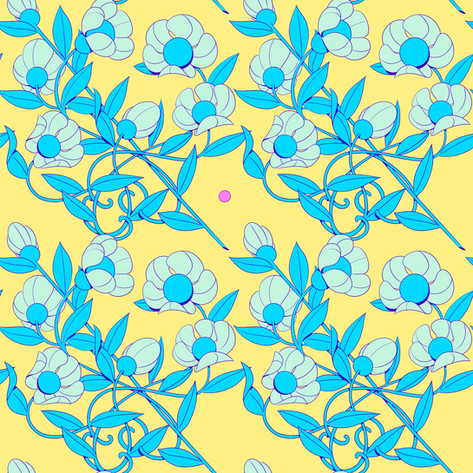 Floral - Blue and Yellow
