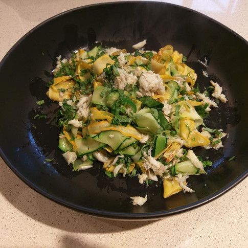 Shaved Zucchini & Squash Noodles with Lump Crab and Jalepeno