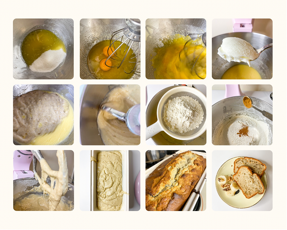 Step by step visual instructions for banana bread