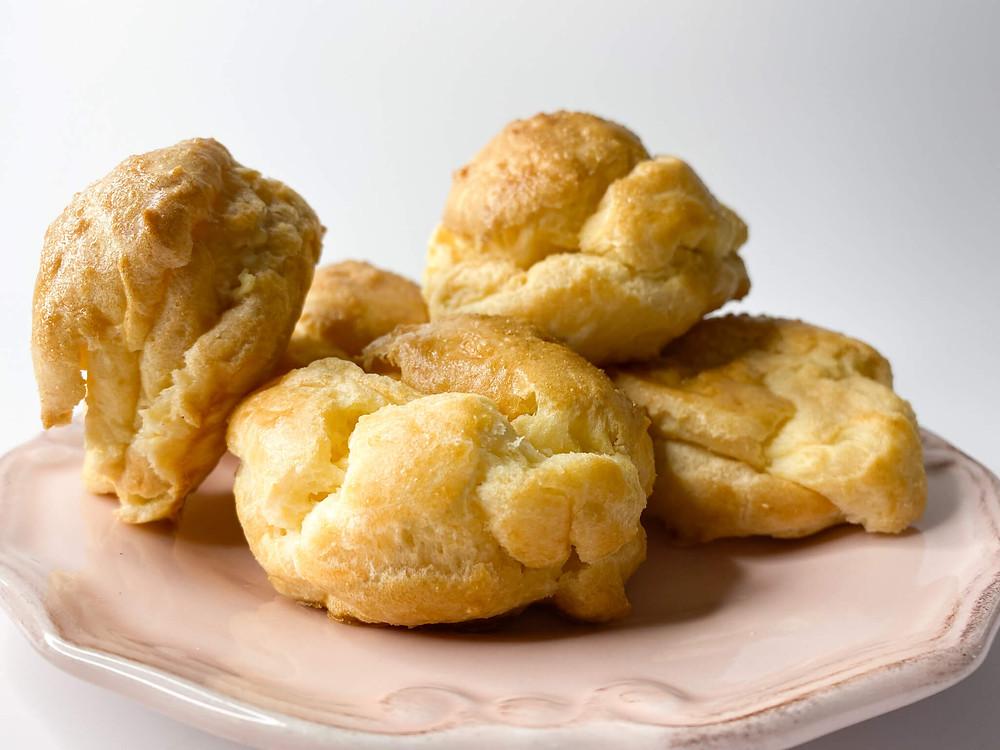 Cream puffs on a plate