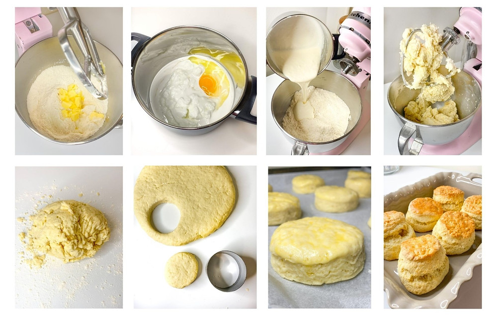 Visual instructions for stawberry shortcake biscuits.