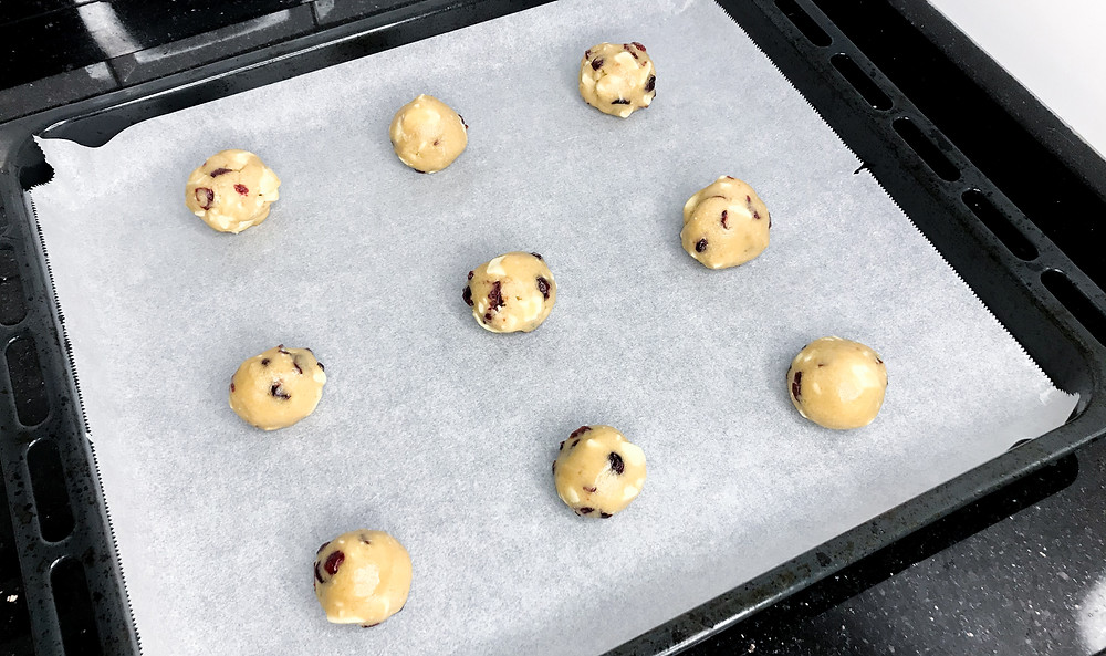 White Chocolate and Cranberry Cookie Dough on Tray