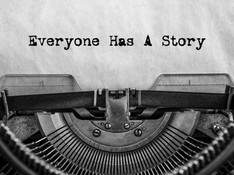 Everyone Has A Story, typed words on a v