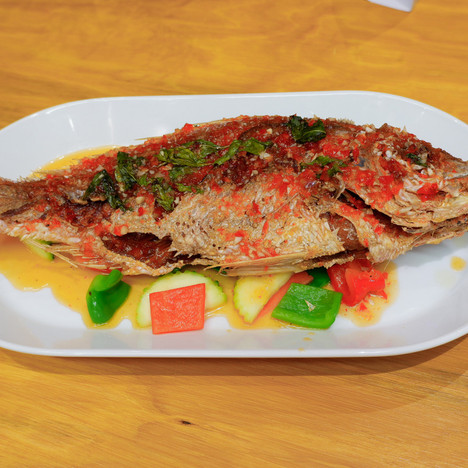 Whole Snapper with 3 Flavors Sauce