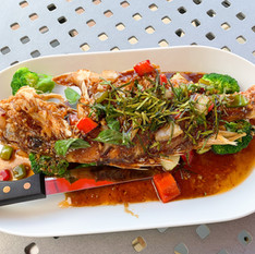 Whole Snapper with Kaprow Sauce