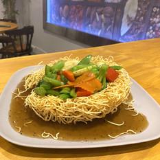 Rad Nah with Crispy Egg Noodles