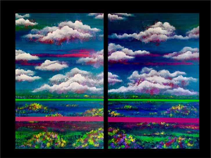 Size 150 x 100 cm Размер 150 х 100 см  Diptych. Mixed media on canvas  Диптих. Холст, смешанная техника