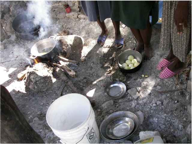 Women cooking in Haiti