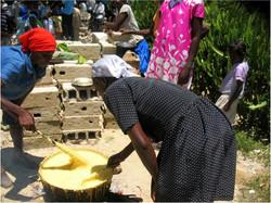Women cooking corn flour