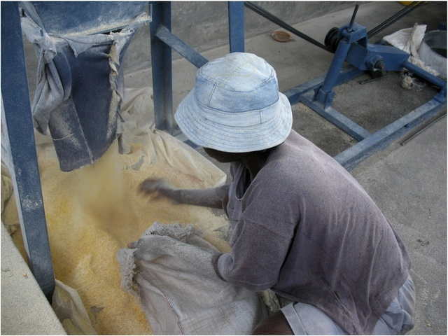 Gathering the milled grains